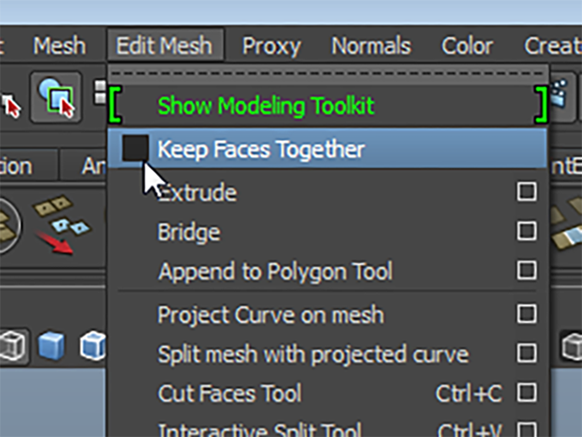 MAYA Edit Mesh→Keep Faces Together