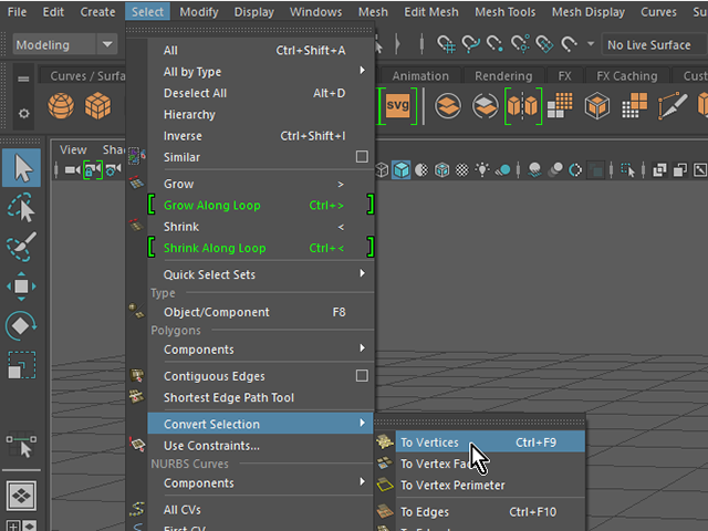 MAYA Select→Convert Selection→To Vertices