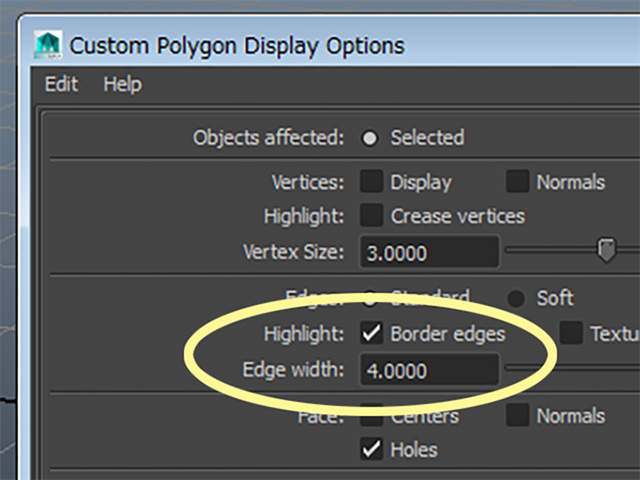 MAYA Display→Polygons→Custom Polygon Display