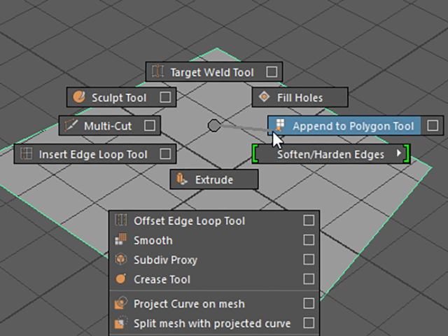 MAYA Append to Polygon Tool