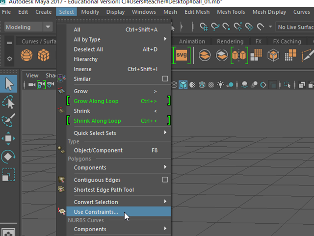 MAYA Select→Use Constraints