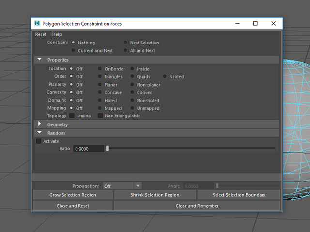 MAYA Polygon Selection Constraint on Faces