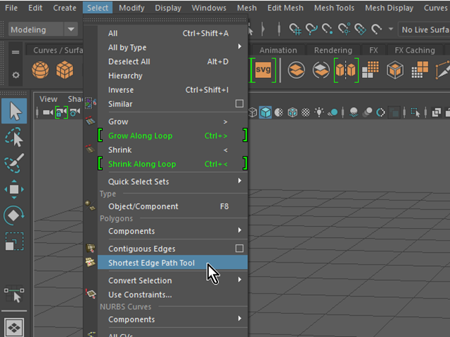 MAYA Select→Shotest Edge Path Tool