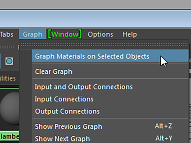 Hypershade Graph→Graph Materials on Selected Object