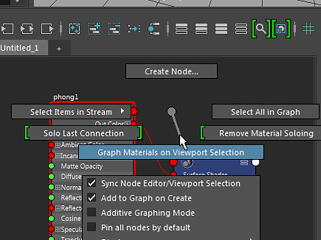 Hypershade Graph Materials on Viewport Selection