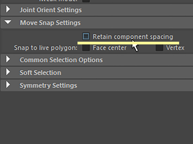 MAYA Retain component spacing