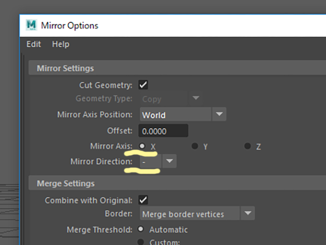 MAYA Mirror Options