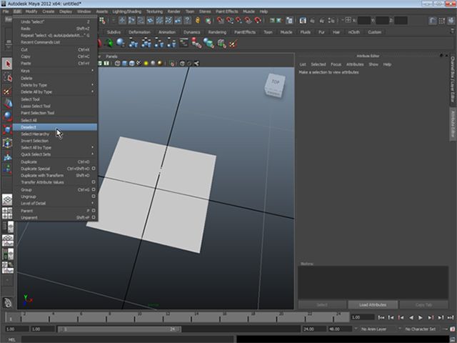 MAYA Edit→Deselect All
