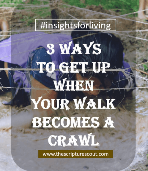 5 Ways to Get Up  When Your Walk  Becomes a Crawl. 1 Timothy 4:16, Proverb 28:13, Romans 8:28, Philippians 3:13-14, 1 Peter 5:6-7