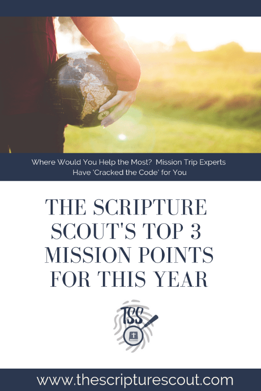 The Scripture Scout's  Top 3 Mission Points  for this Year
