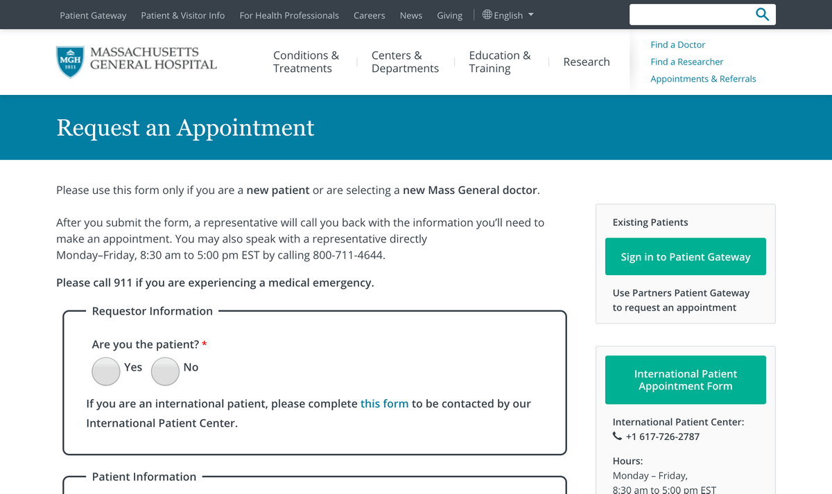 Massachusetts General's Request an Appointment