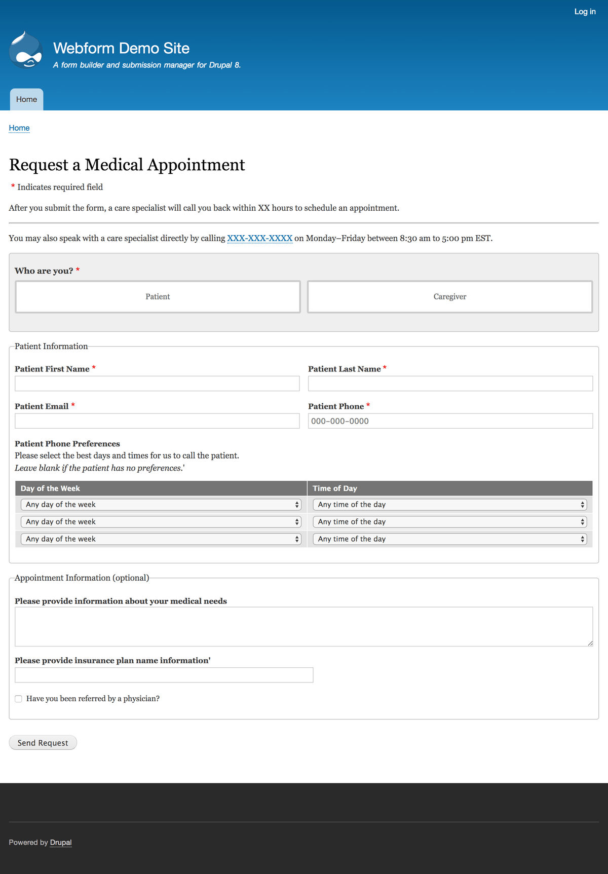 Request a Medical Appointment Template