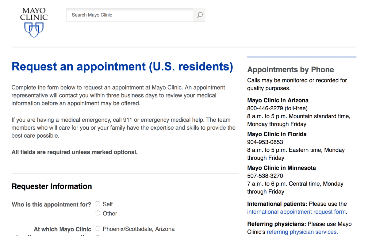 Mayo Clinic's Request an Appointment