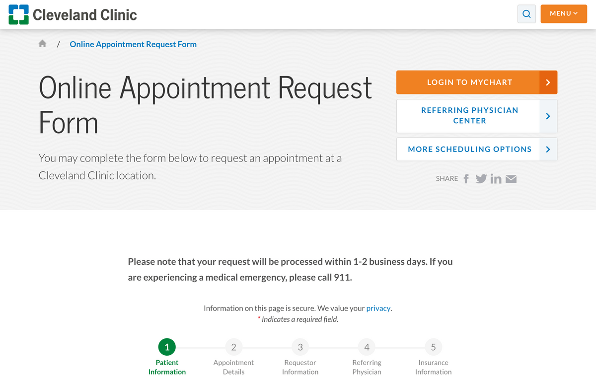 Cleveland Clinic's Online Appointment Request Form