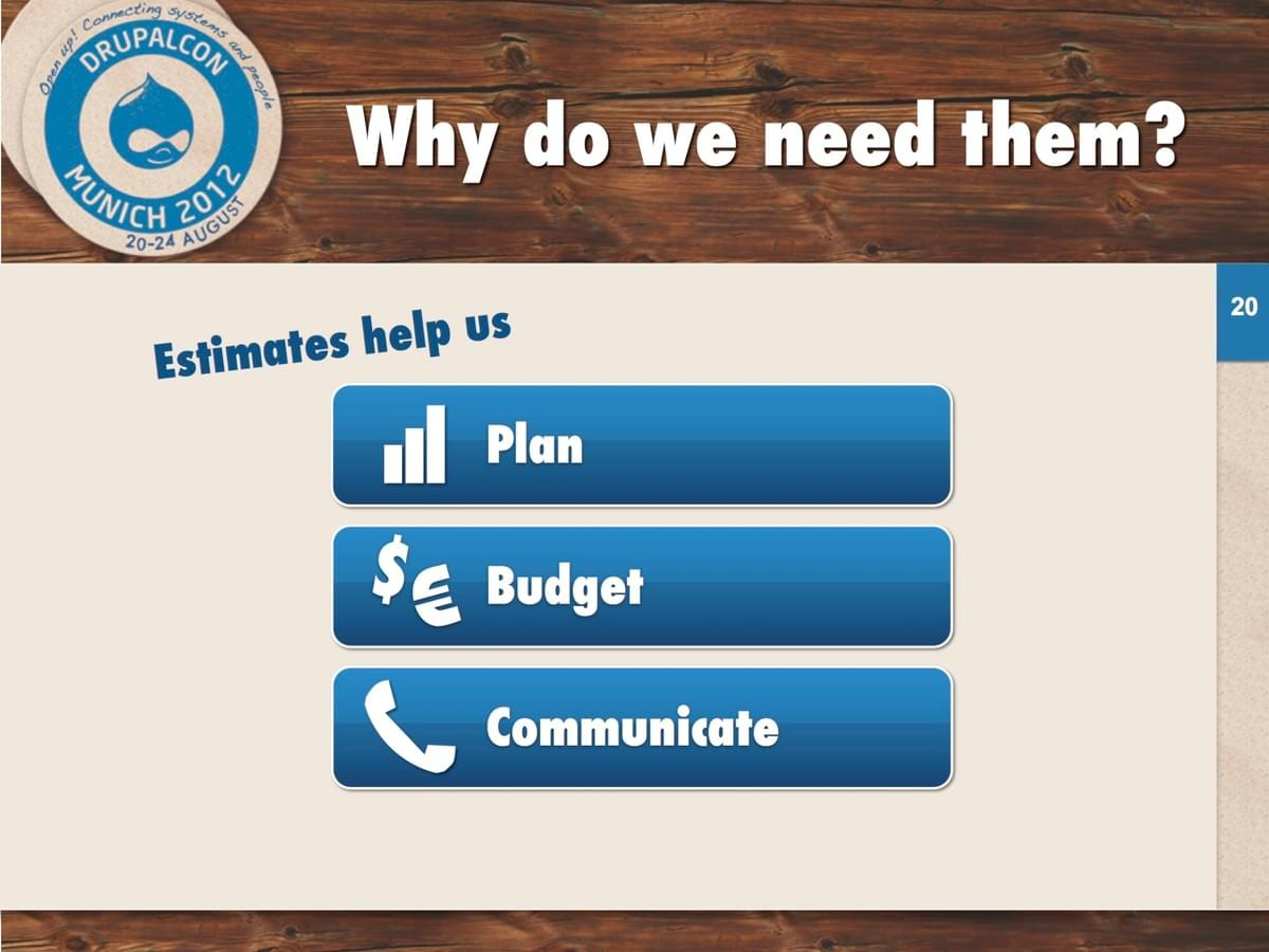 Estimates help us: Plan, budget, and communicate