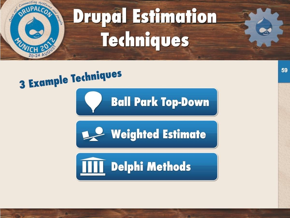 3 Example Techniques: Ball Park Top-Down, Weighted Estimate, and Delphi Methods