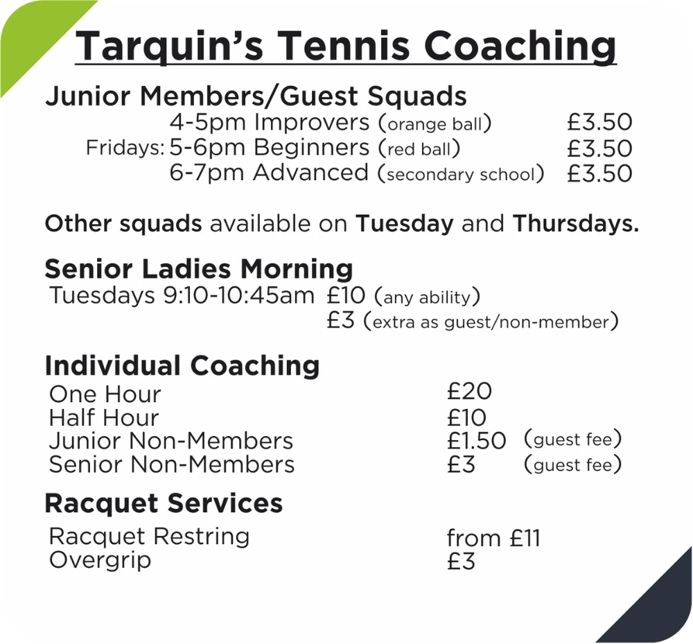 Tarquin Coaching Schedule at Formby Holy Trinity Tennis Club.