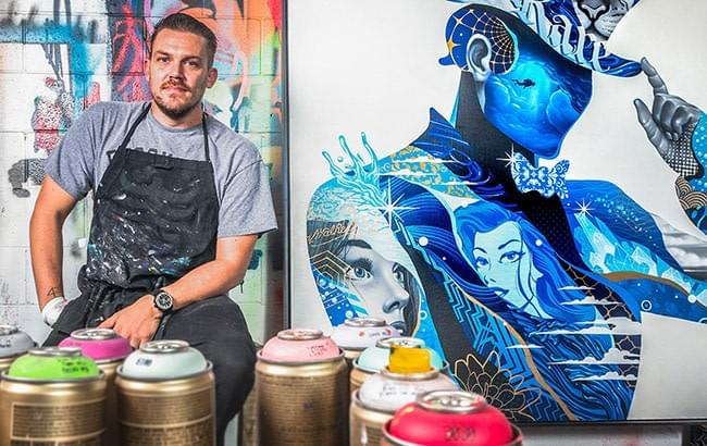Tristan Eaton, the artist behind the Johnnie Walker label art.