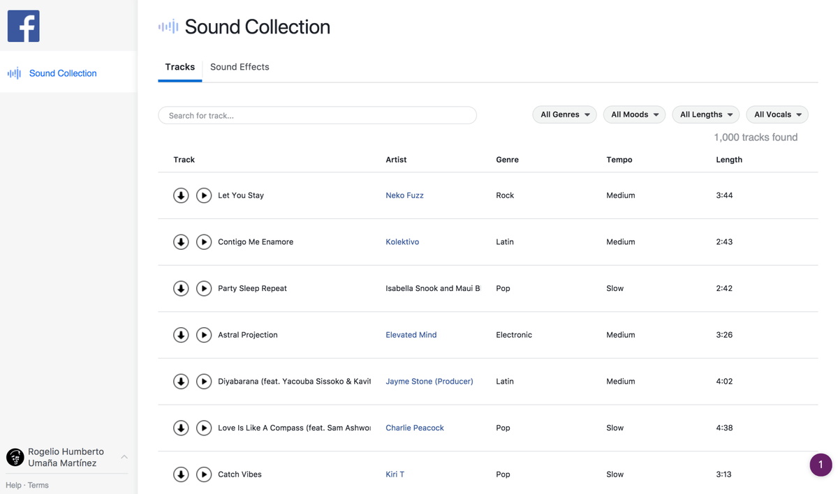 Facebook Sound Collection Screen Grab