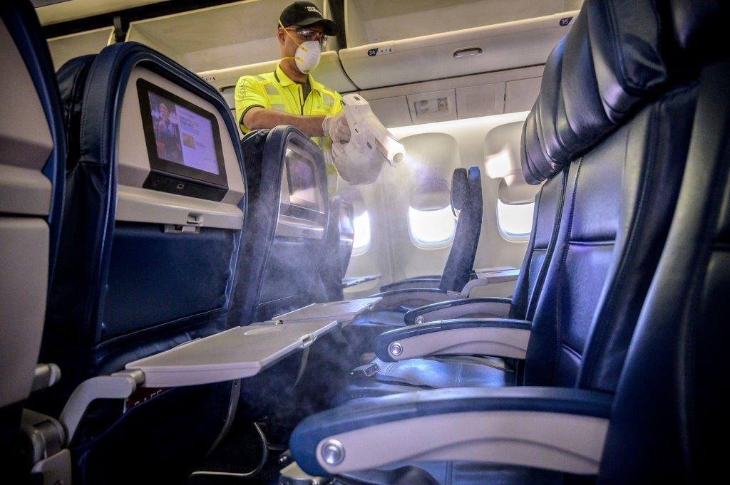 Airlines are using electrostatic cleaners and sprays to quickly disinfect their aircraft cabins.