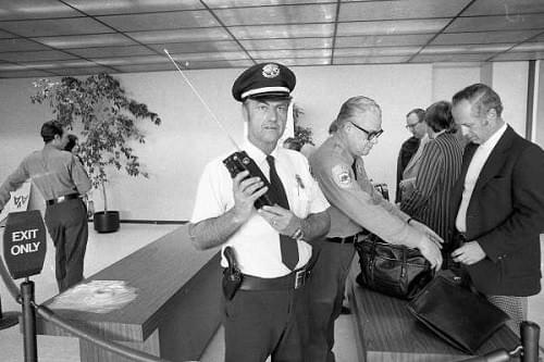 The first airport security checkpoints in 1973 were very basic affairs.