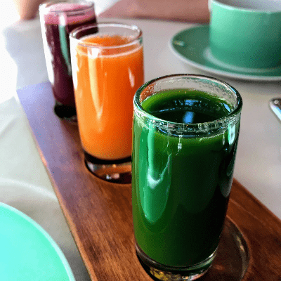 Gluten Free Fresh Pressed Juice Flight Tableau Las Vegas Nevada
