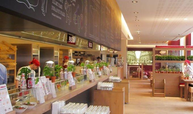 Food counter at Vapiano bankside
