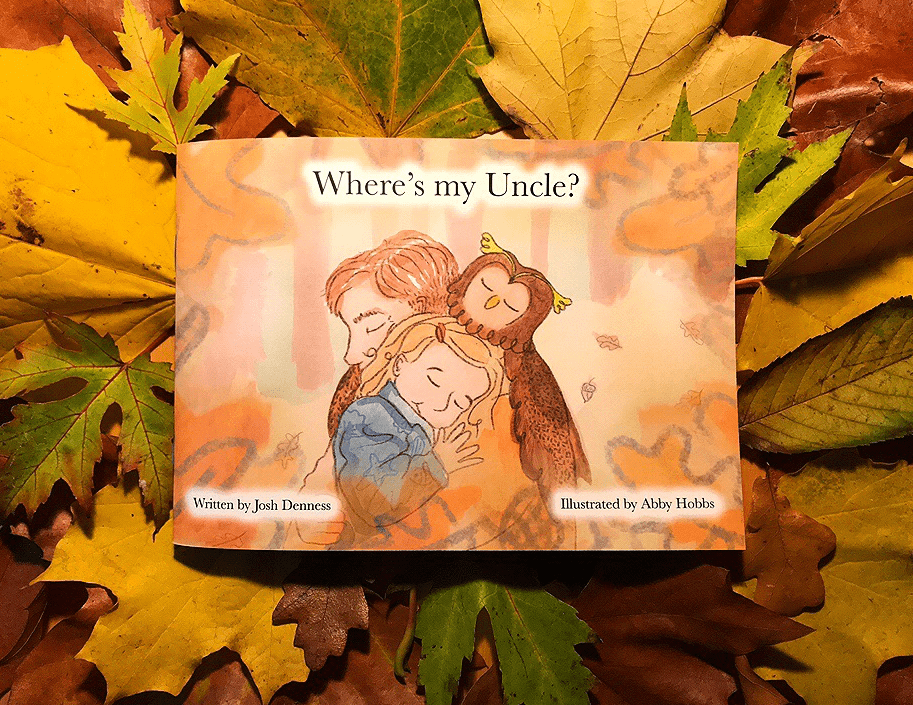 Illustration of front cover of 'Where's my uncle' book, showing man, girl and owl hugging