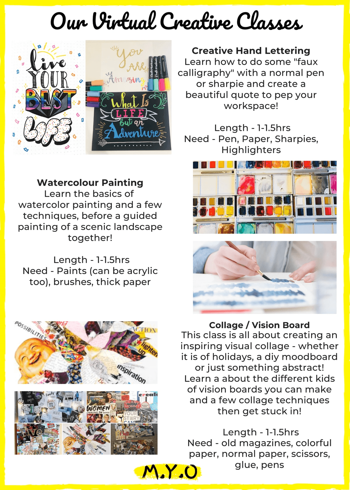 Online creative workshops with M.Y.O page 2 of flyer
