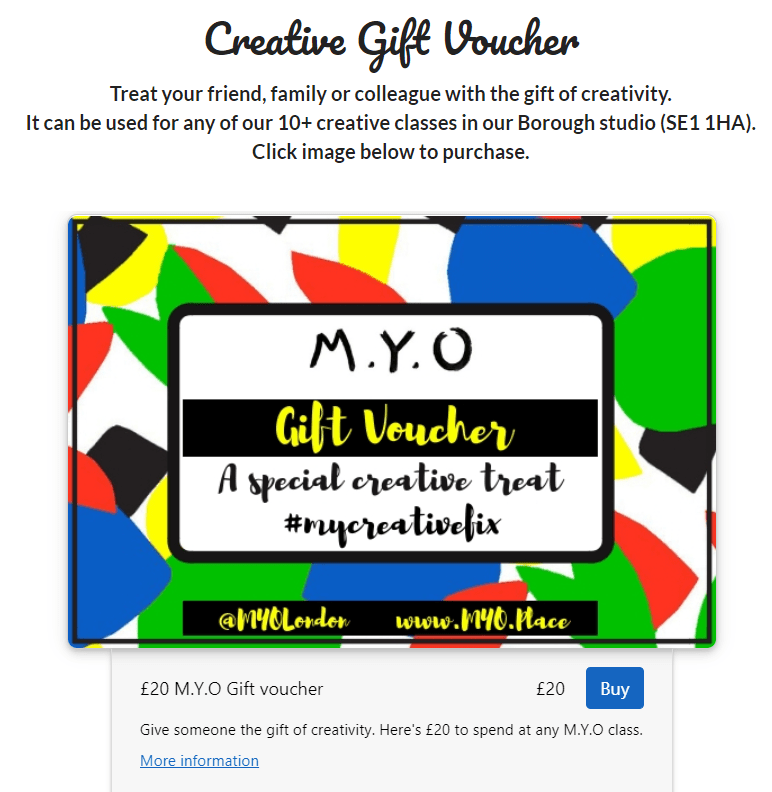 Screen shot of M.Y.O gift voucher