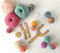 Pom pom making materials and equipment