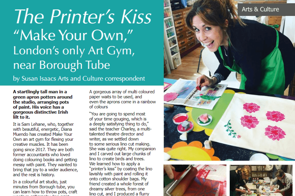 An article on M.Y.Os lino printing class