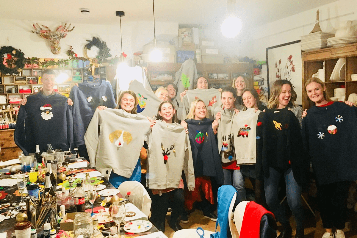 Christmas jumper making with Innocent - creative team building