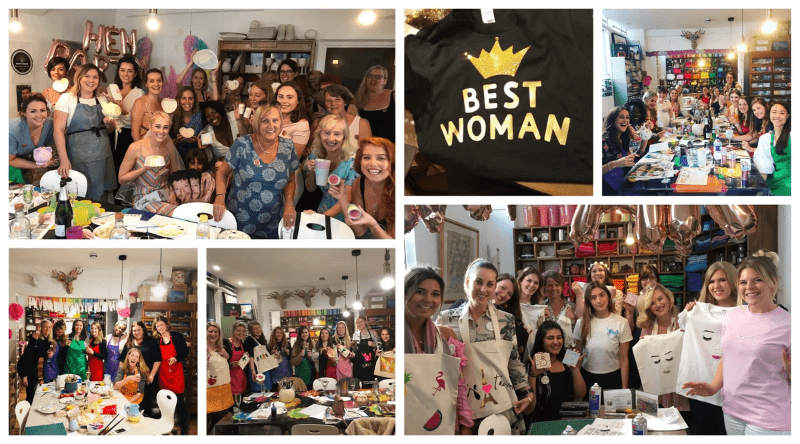 Examples of what guests have made at creative hen parties in M.Y.O London