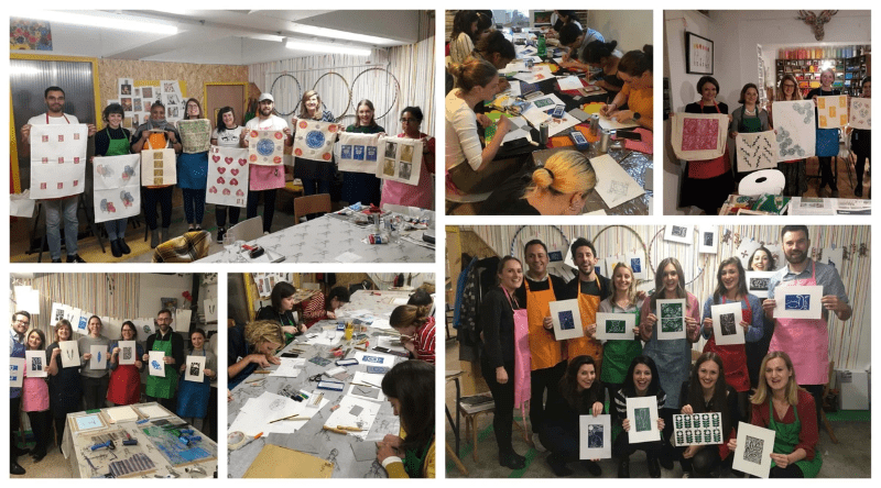 Some lino printing groups at M.Y.O