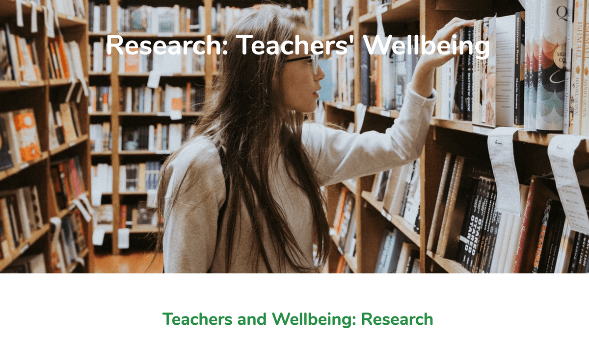 Research Teachers Wellbeing Page on Teach Well Alliance Website