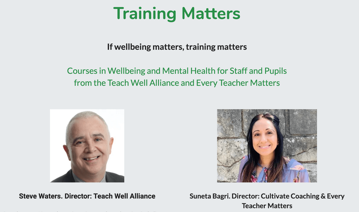 Training Matters Page on Teach Well Alliance Website