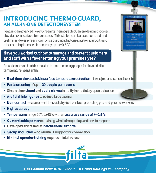Filtra Thermo Guard Temperature Detection System. Contact Graham Stuart 07870 222771