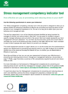 HSE Stress Management Competency Indicator Tool Questionnaire