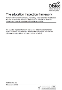 Ofsted Education Inspection Framework May 2019