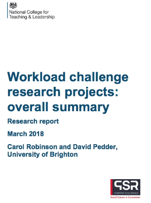 Workload Challenge Research Projects: overall summary DfE March 2018