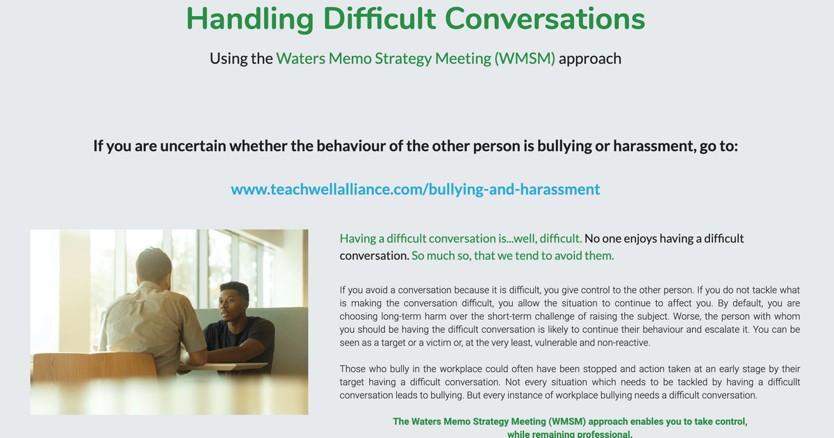 School Staff Support Page including How to Handle Difficult Conversations on Teach Well Alliance Website