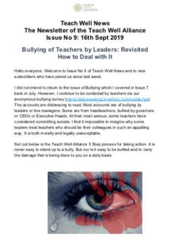 Teach Well News Issue 9 16th Sept 2019 Bullying of Teachers By Leaders Revisited How to Deal With It