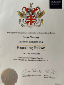 Steve Waters Founding Fellow Chartered College of Teaching 2019