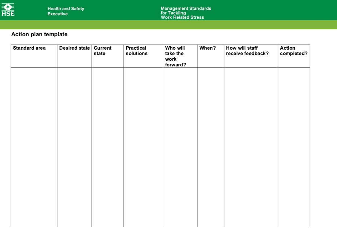 HSE Tackling Work-Related Stress Action Planning Template