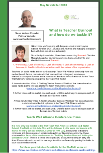 Teach Well Alliance Teach Well News Issue No. 2 May 2018