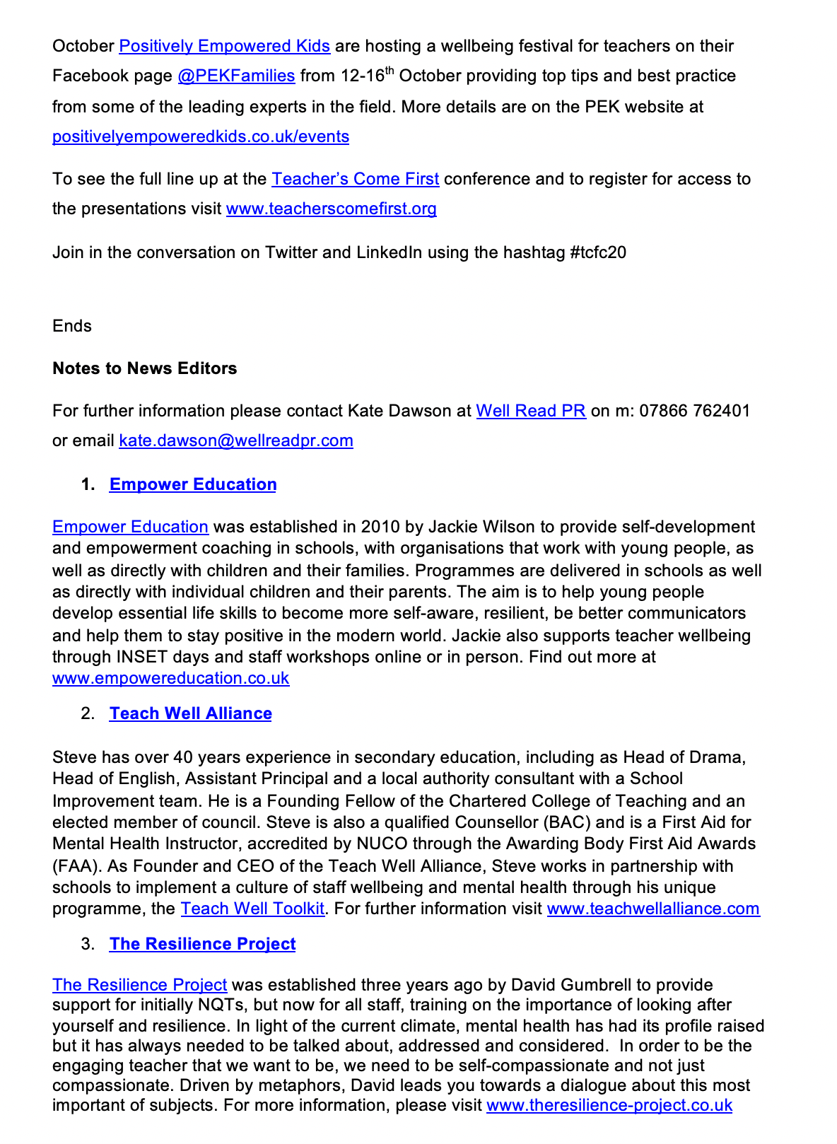Press Release Teachers Come First Conference with Links to Websites 19th October 2020