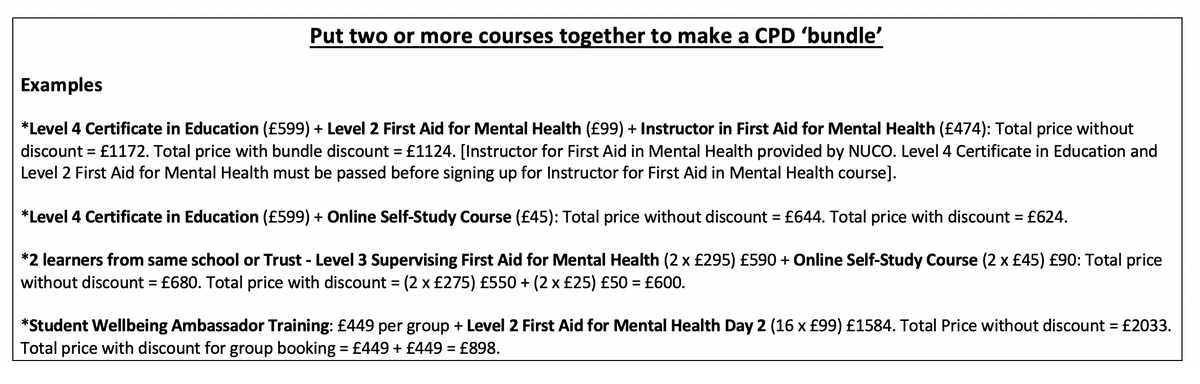 Training Matters Course Fees 2020-21
