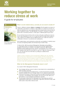 HSE Working Together to Reduce Stress at Work