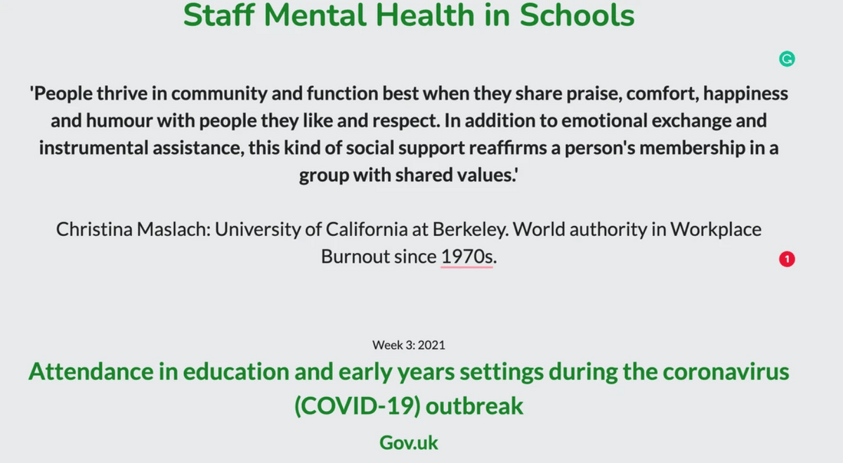 Staff Mental Health in Schools